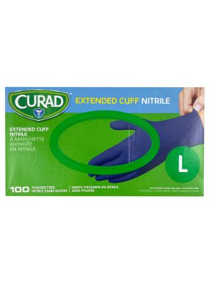 Curad Extended Cuff Large Nitrile Gloves - 100 per Box